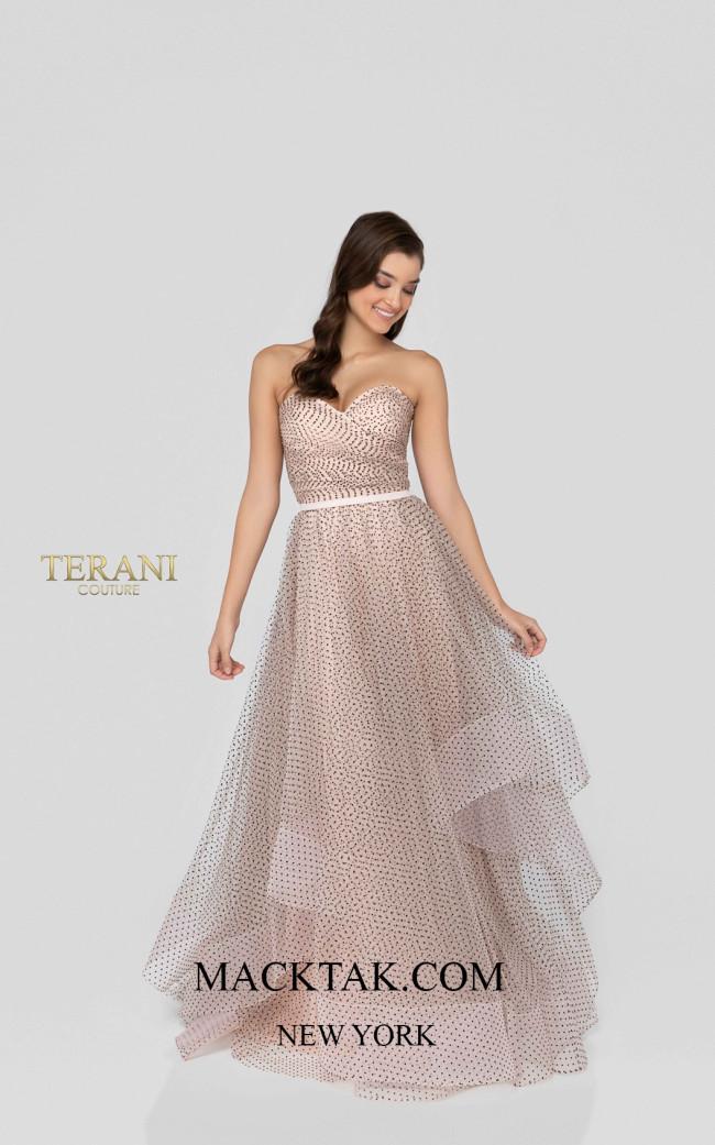 Terani 1912P8578 Blush Black Front Dress