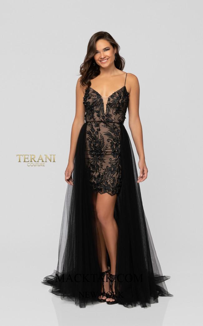 Terani 1913P8041 Black Nude Front Dress