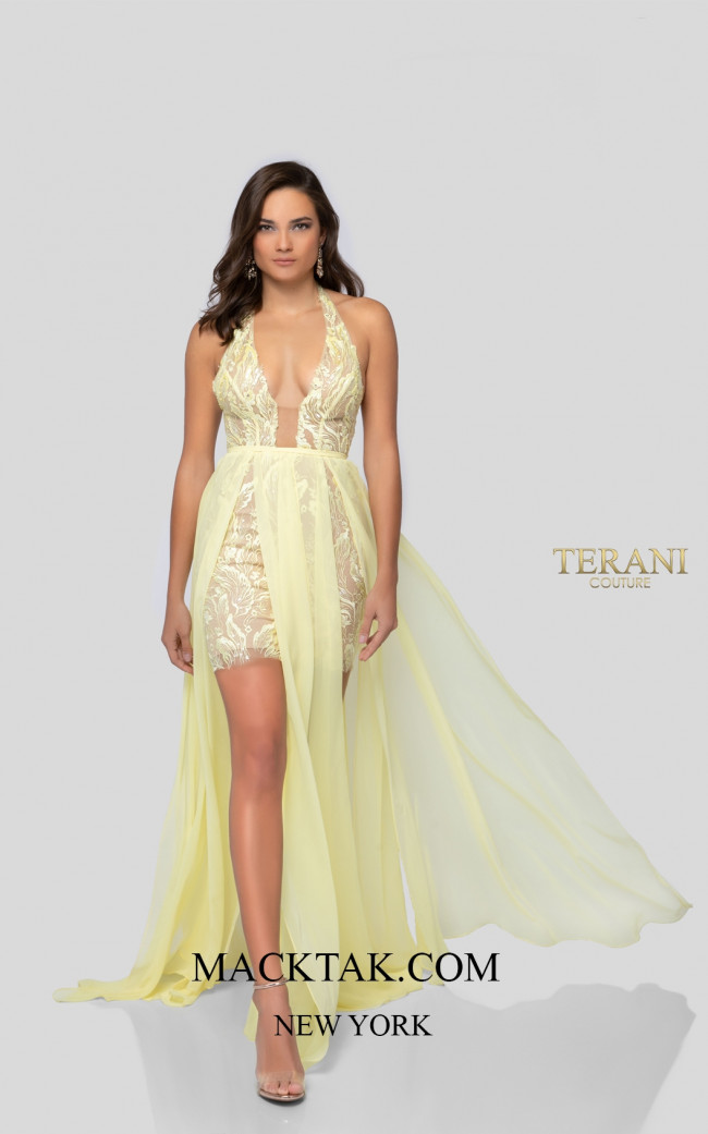 Terani 1913P8314 Yellow Nude Front Dress