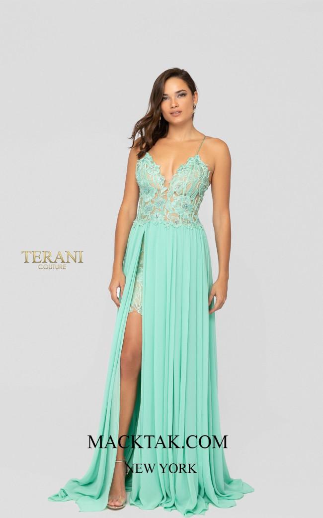 Terani 1913P8324 Mint Nude Front Dress