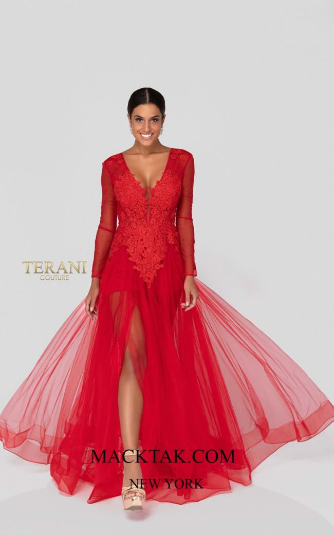 Terani 1915P8344 Red Front Dress
