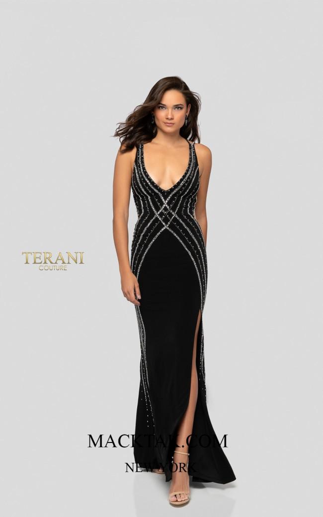 Terani 1915P8346 Black Front Dress