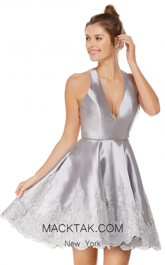 Alyce 3771 Silver Front Evening Dress