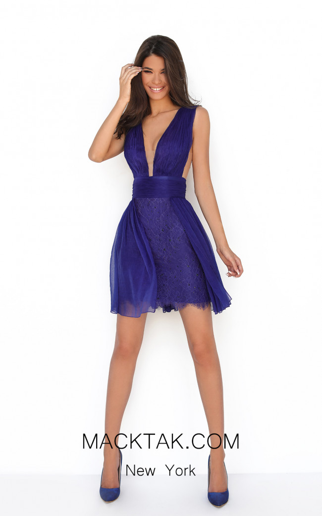 Tarik Ediz 50611 Royal Blue Front Dress