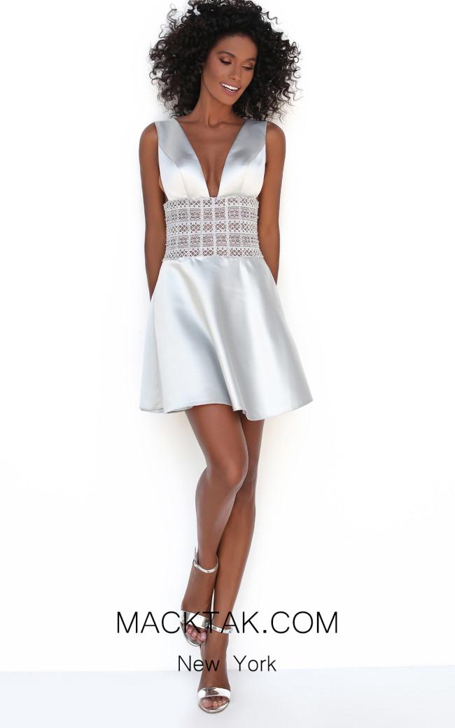 Tarik Ediz 50615 Silver Front Dress