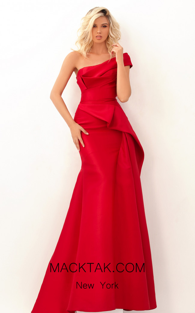 Tarik Ediz 50620 Red Front Dress