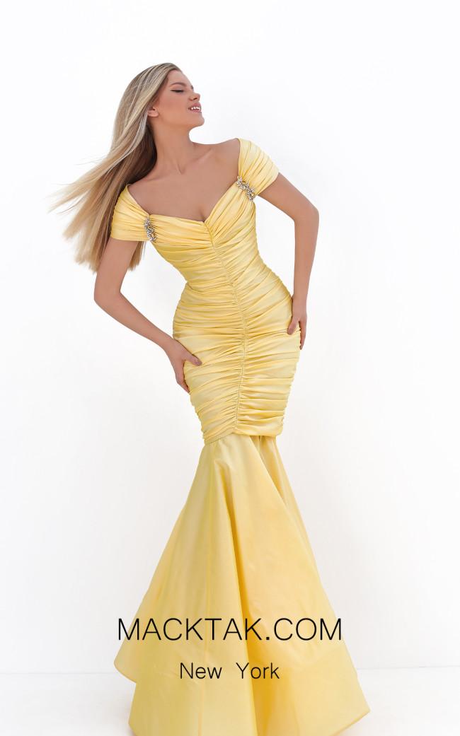 Tarik Ediz 50656 Yellow Front Dress