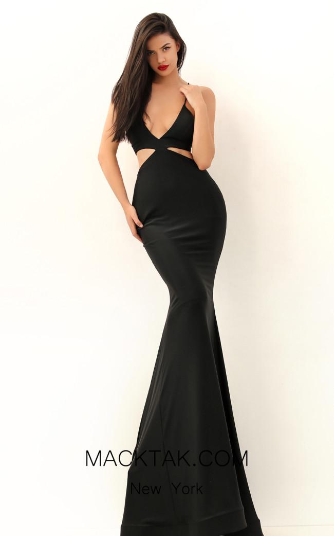 Tarik Ediz 50657 Black Front Dress
