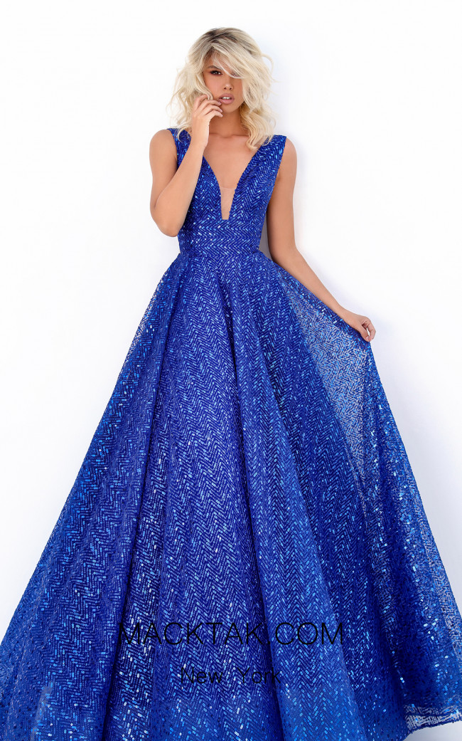Tarik Ediz 50660 Royal Blue Front Dress