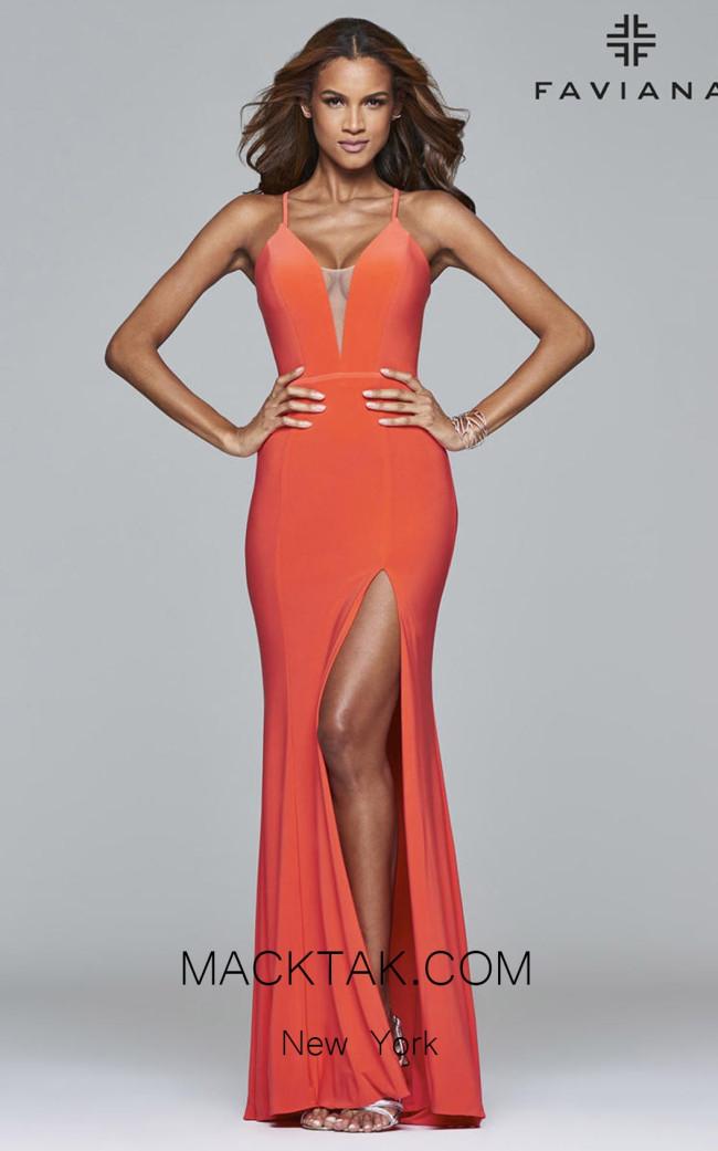 Faviana 7977 Papaya Front Prom Dress