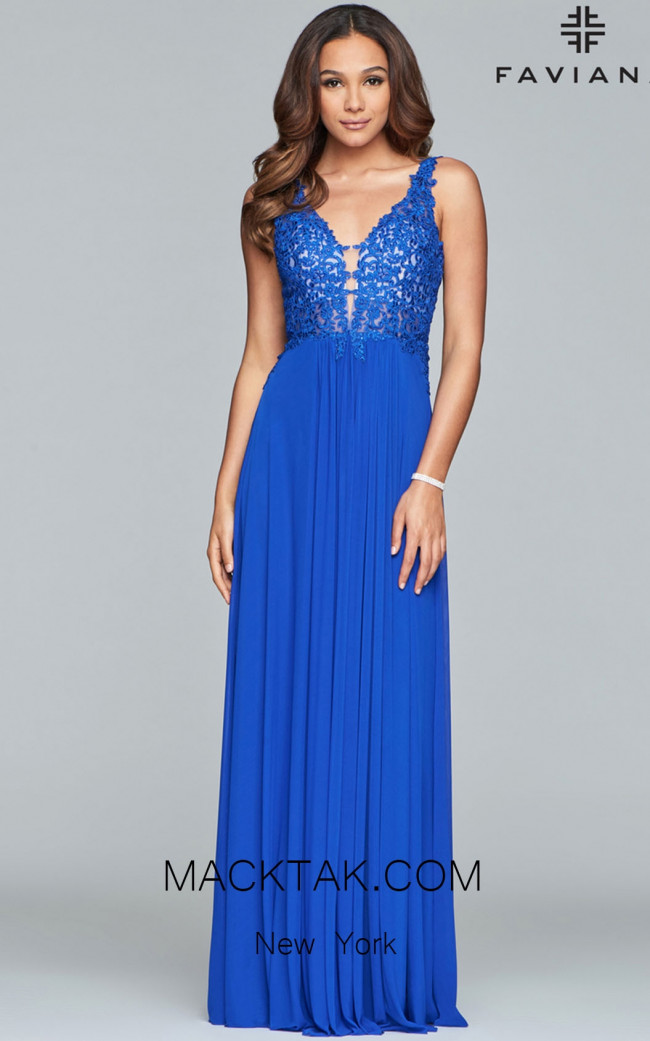Faviana 8000 Cloud Blue Front Prom Dress