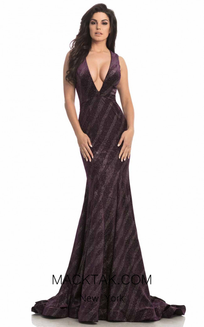 Johnathan Kayne 8229 Purple Silver Front Dress