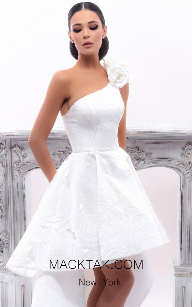 Tarik Ediz 93350 Ivory Front Evening Dress
