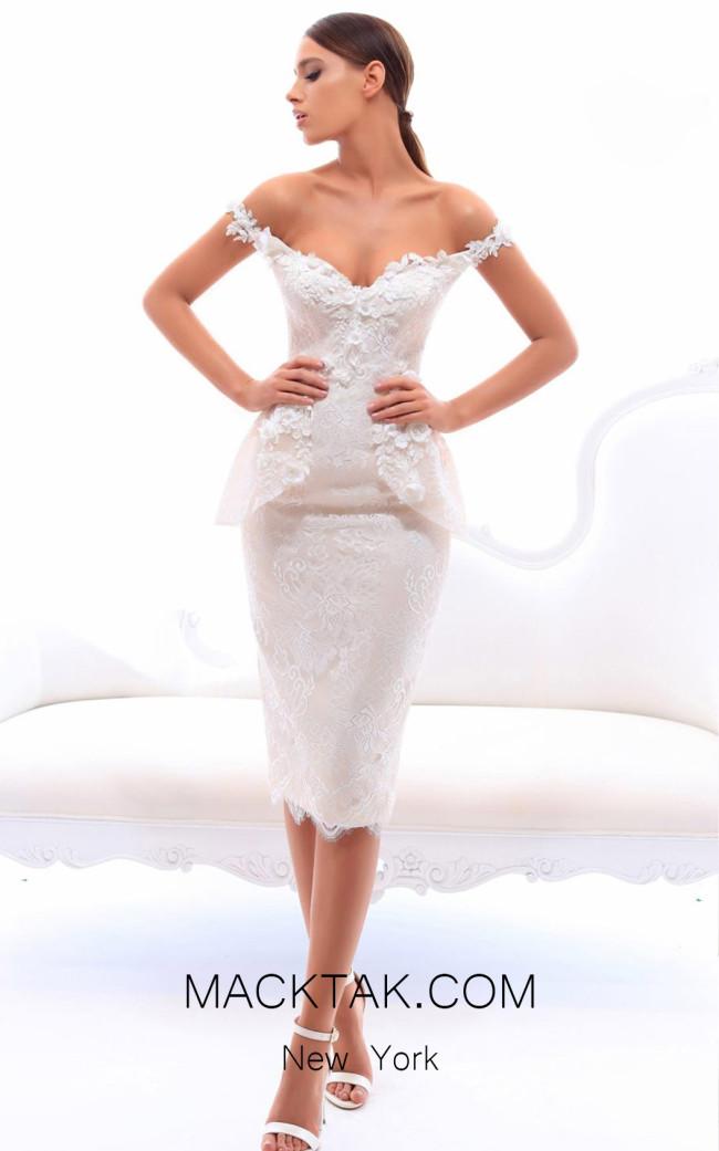 Tarik Ediz 93415 Ivory Front Evening Dress