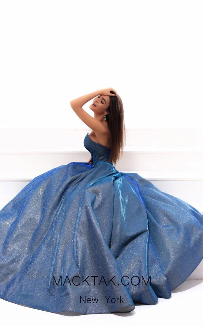 Tarik Ediz 93469 Ocean Blue Evening Dress
