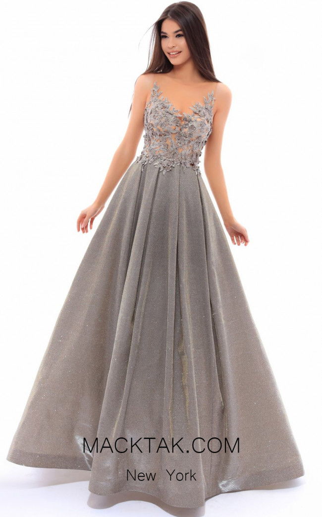 Tarik Ediz 93480 Silver Front Evening Dress