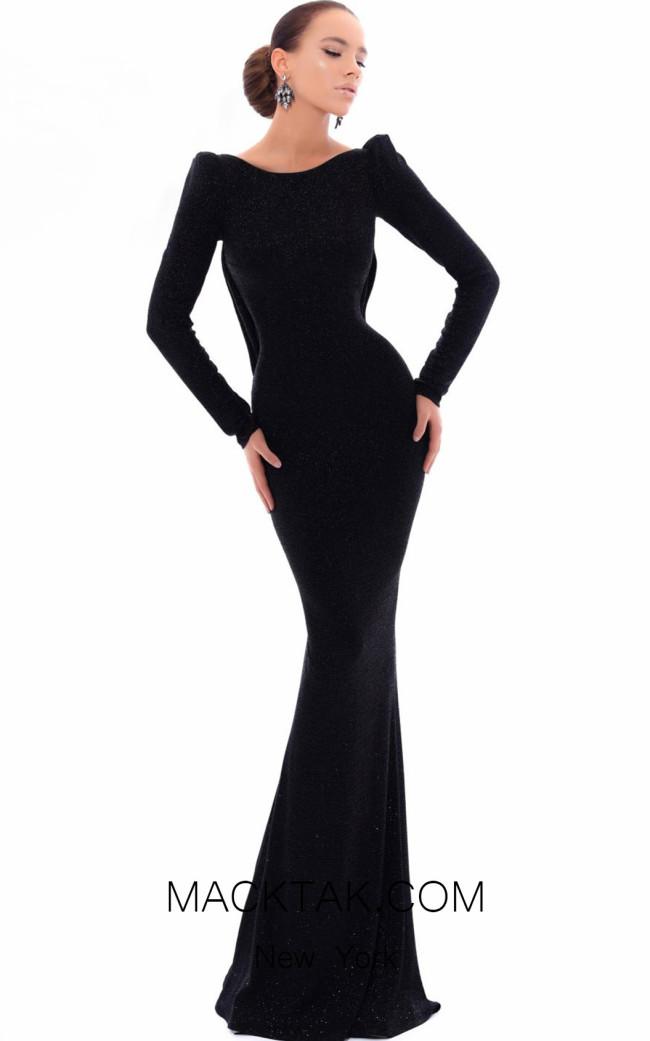 Tarik Ediz 93485 Black Front Evening Dress