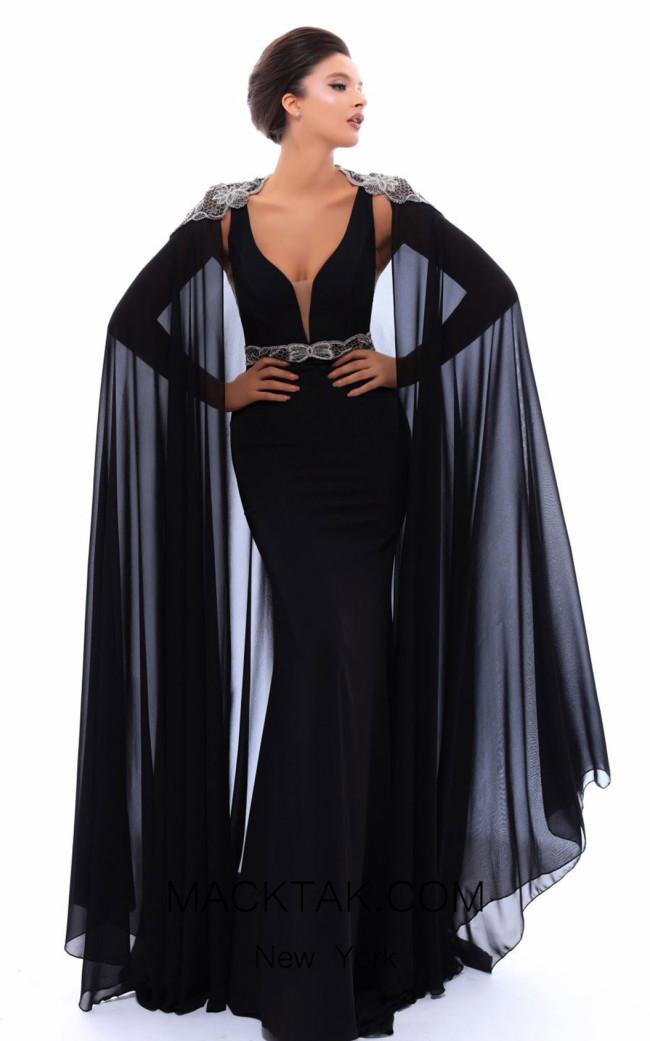 Tarik Ediz 93499 Black Front Evening Dress