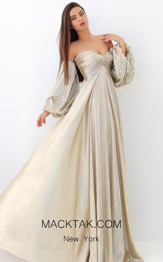 Tarik Ediz 93809 Gold Front Dress