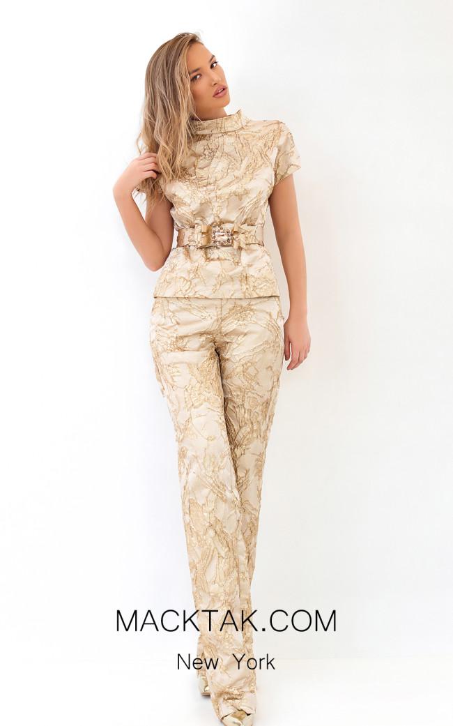 Tarik Ediz 93810 Gold Front Dress