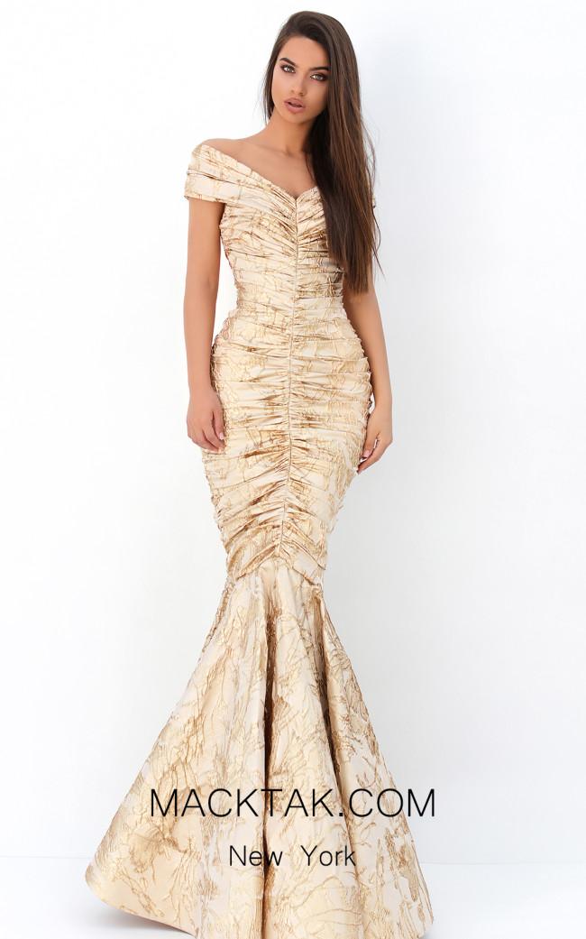 Tarik Ediz 93811 Gold Front Dress