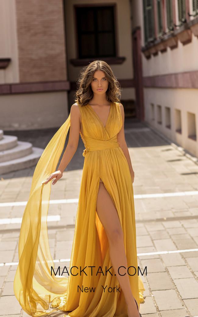 Tarik Ediz 93919 Yellow Front Dress