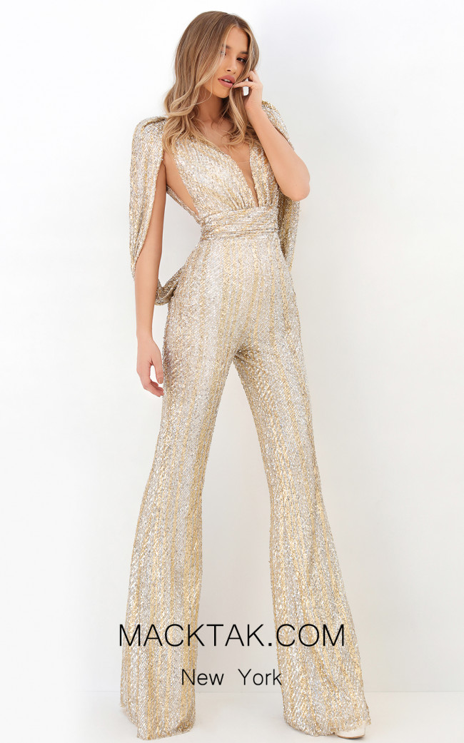 Tarik Ediz 93940 Ivory Gold Front Dress