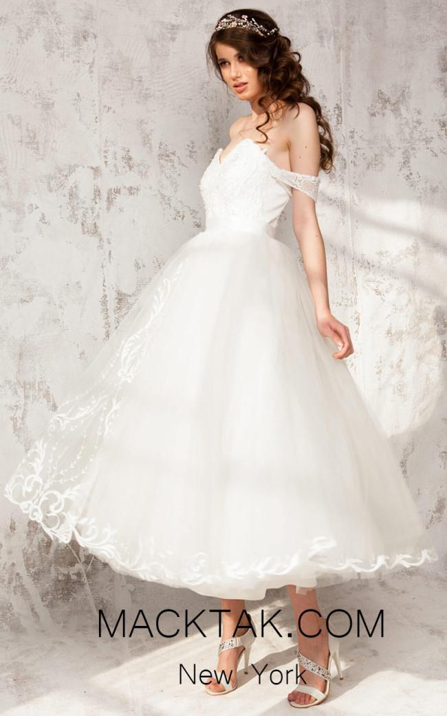 Aida Lorena Nicole White Side Evening Dress