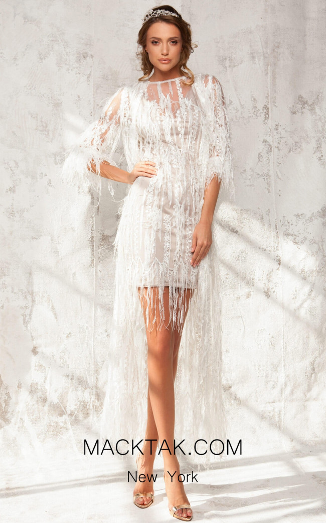 Aida Lorena Maxine White Front Evening Dress
