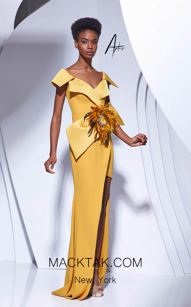 Alchera Y0562 Mustard Front Dress