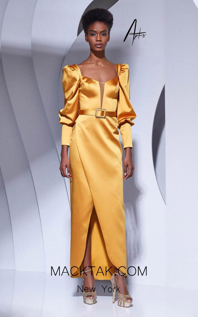 Alchera Y0632 Mustard Front Dress