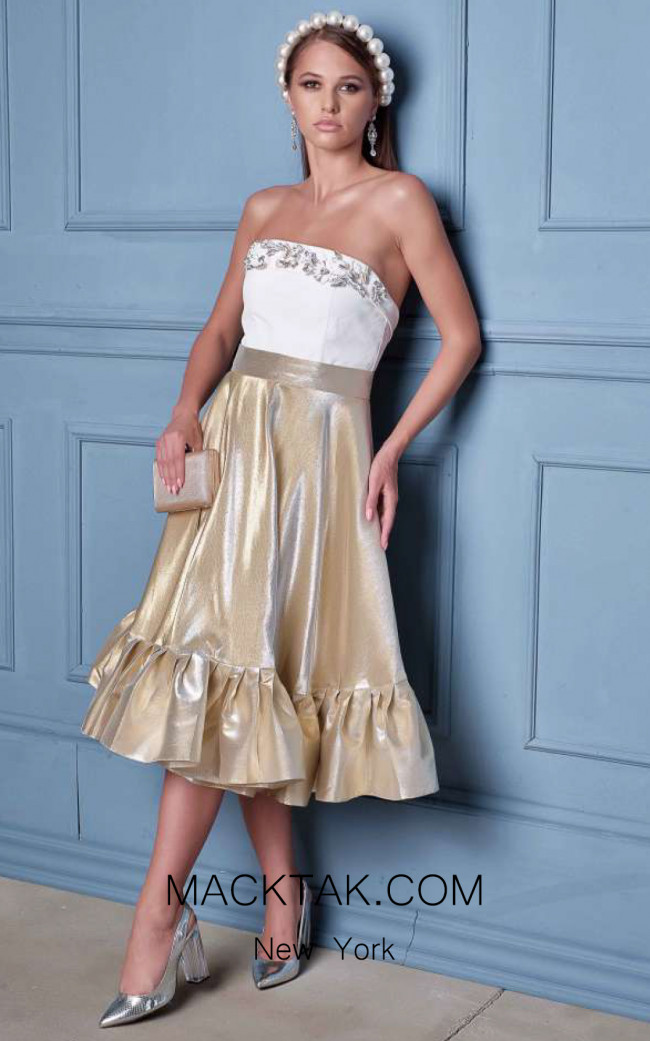 Alda Ciceu NRP SS20-16 Ivory Gold Front Dress