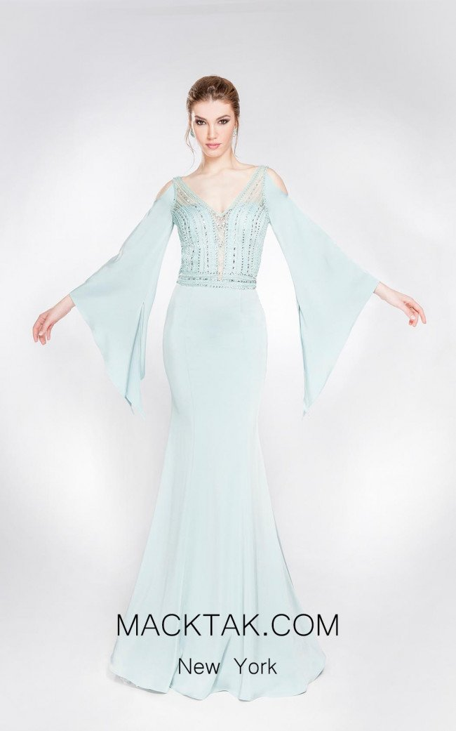 Alma Couture AC1005 Aqua Front Evening Dress