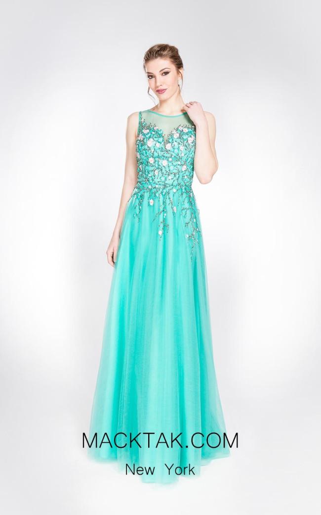 Alma Couture AC1008 Aqua Front Evening Dress