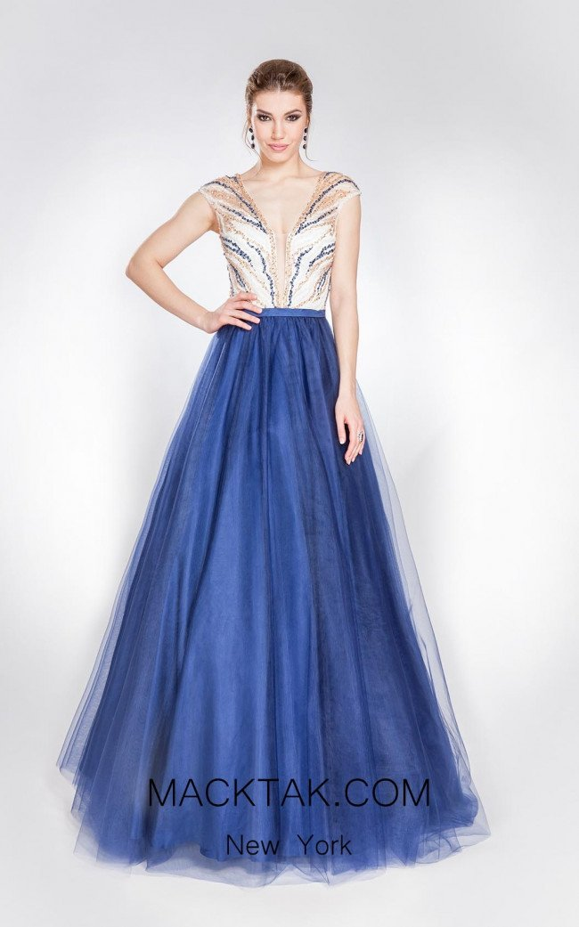 Alma Couture AC1011 Blue White Front Evening Dress