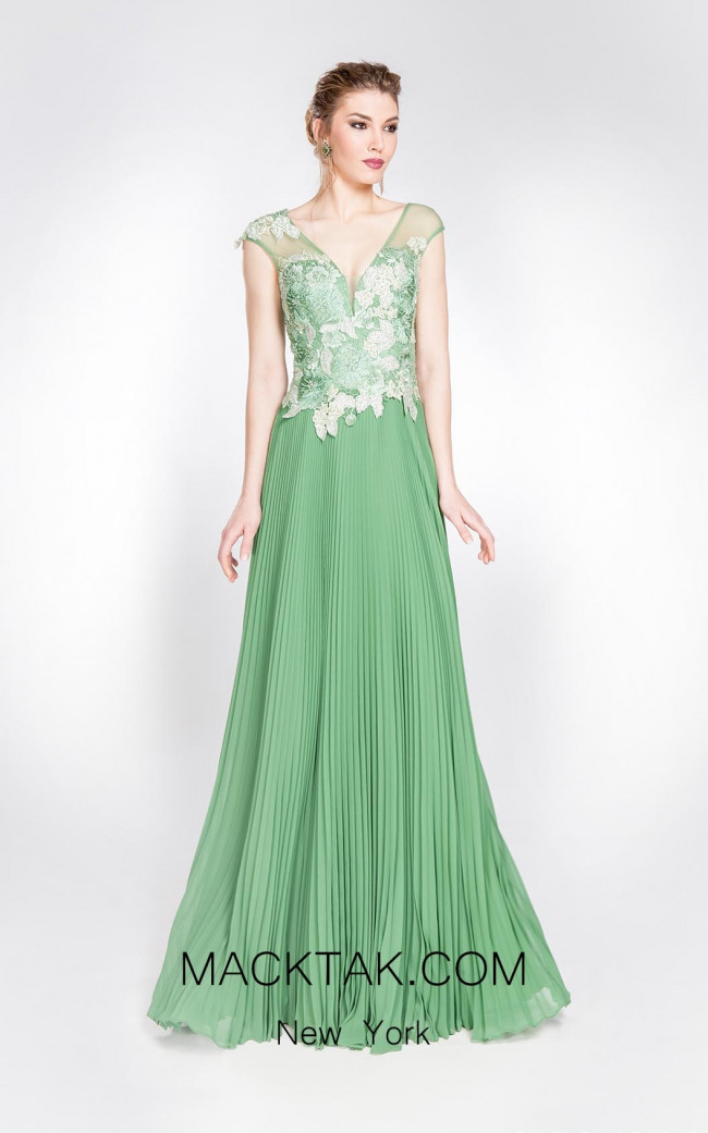 Alma Couture AC1012 Olive Front Evening Dress