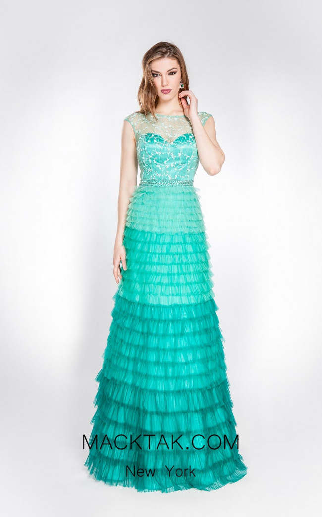 Alma Couture AC1013 Green Front Evening Dress