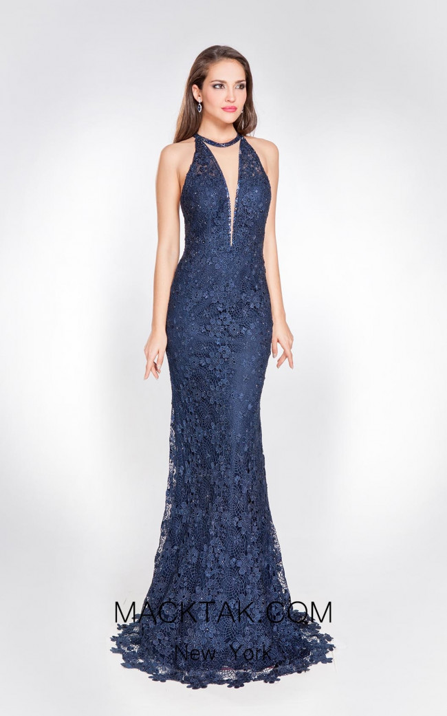 Alma Couture AC1016 Blue Front Evening Dress