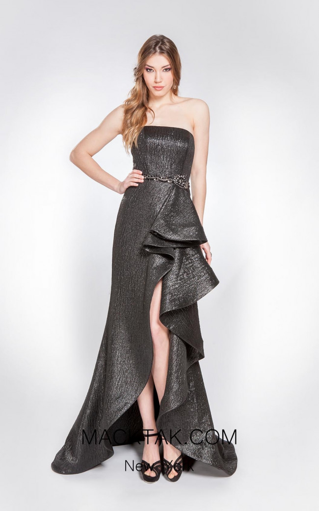 Alma Couture AC1020 Gray Front Evening Dress