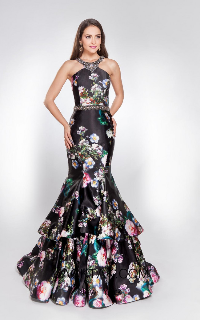 Alma Couture AC1029 Black Multi Front Evening Dress