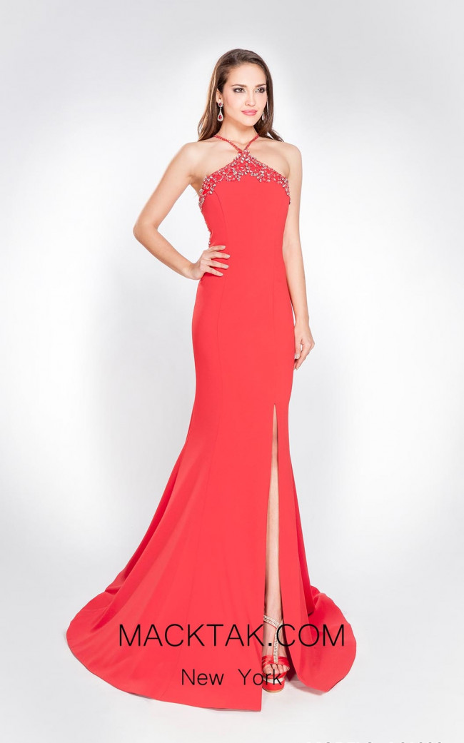 Alma Couture AC1032 Fuchsia Front Evening Dress