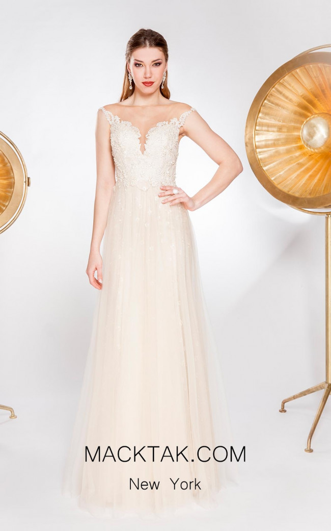 Alma Couture AC1033 Ivory Front Evening Dress