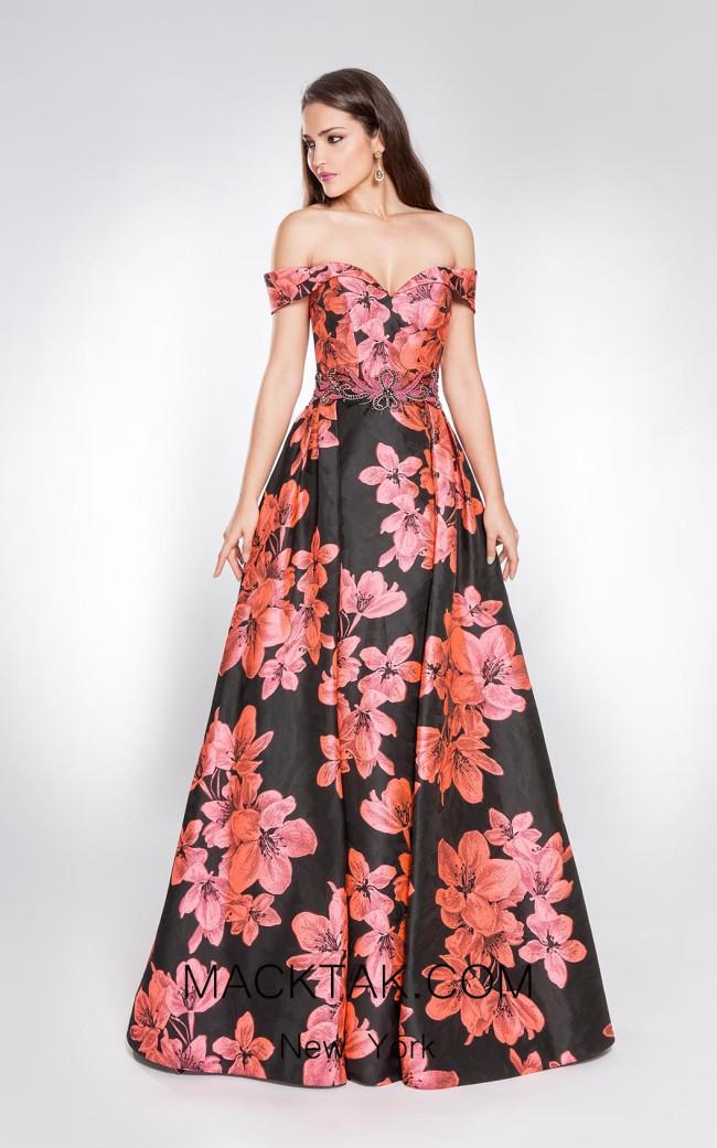 Alma Couture AC1035 Fuchsia Front Evening Dress