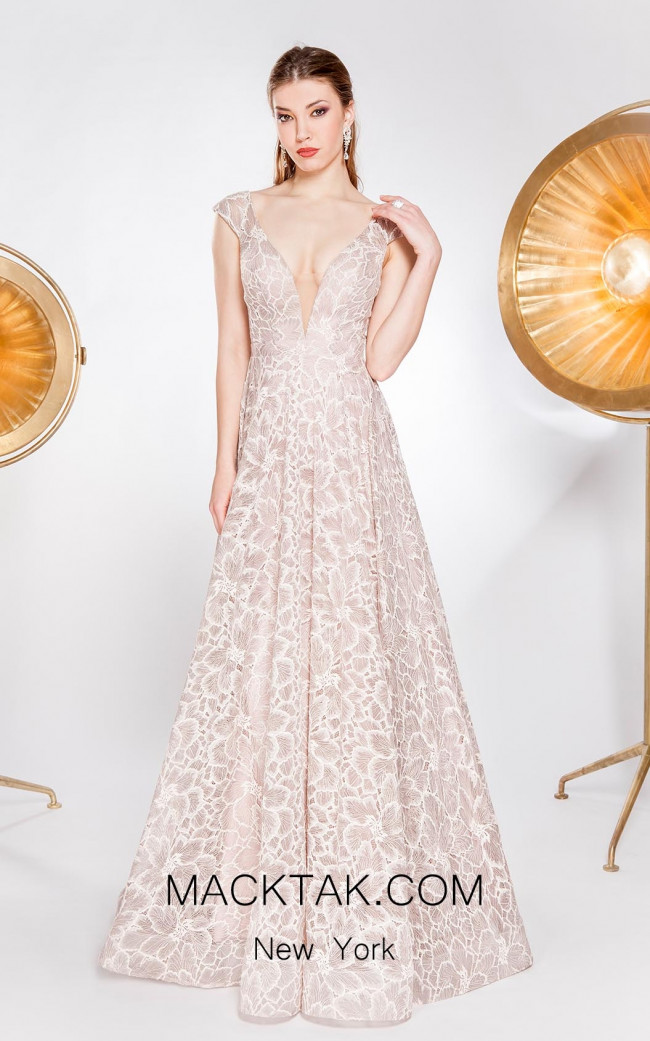 Alma Couture AC1037 Champagne Front Evening Dress