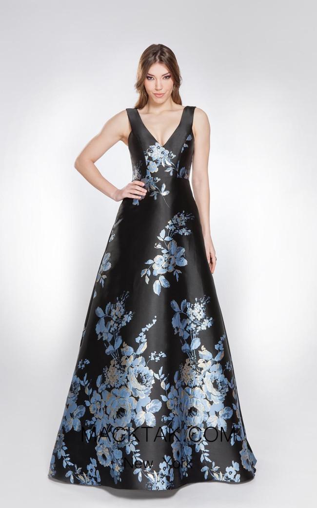 Alma Couture AC1038 Black Multi Front Evening Dress