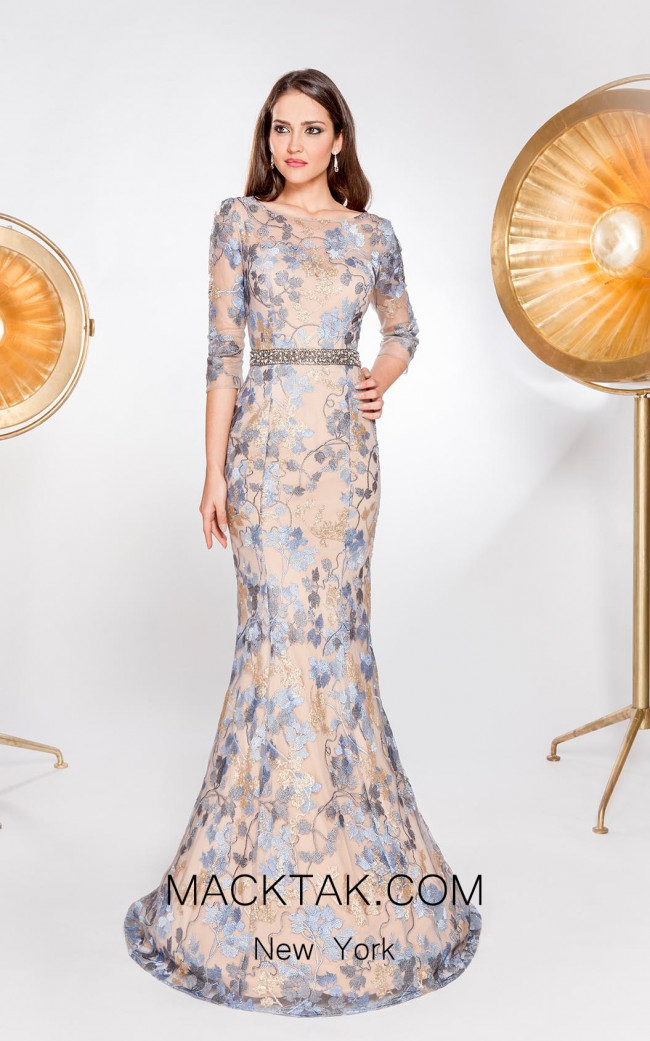 Alma Couture AC1039 Blue Champagne Front Evening Dress