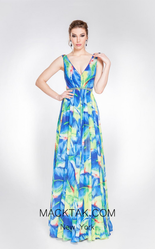 Alma Couture AC1041 Blue Multi Front Evening Dress