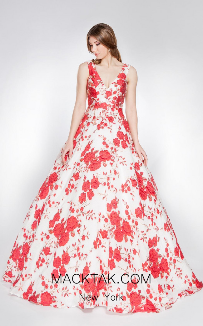 Alma Couture AC1043 Red Front Evening Dress