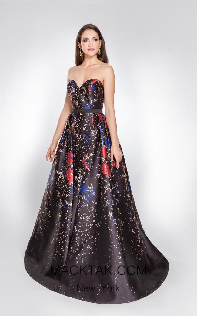 Alma Couture AC1044 Black Multi Front Evening Dress