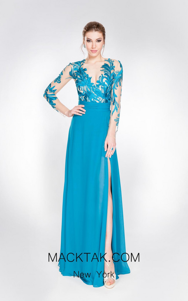 Alma Couture AC1052 Turquoise Front Evening Dress